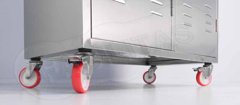 Kit Caster Wheels With Stainless Steel Support